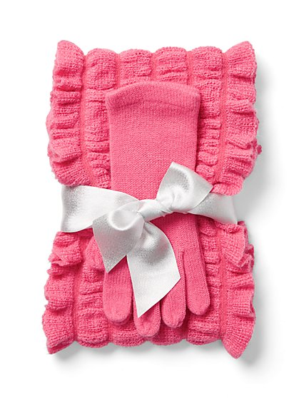 2-Piece Ruffled Scarf & Glove Set - New York & Company