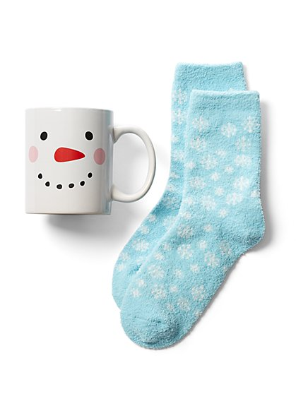 2-Piece Snowman Mug & Sock Gift Set - New York & Company