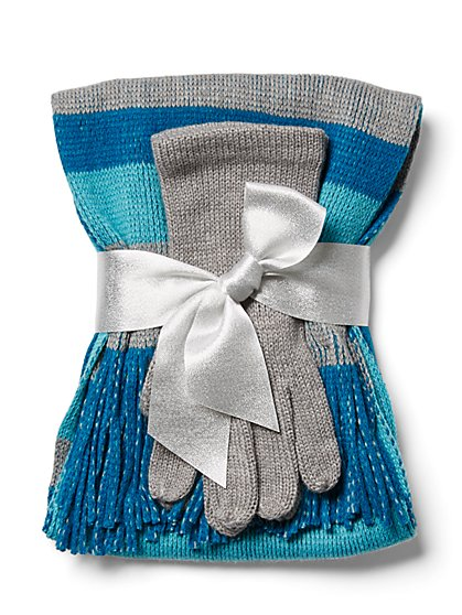 2-Piece Stripe Scarf & Glove Set - New York & Company