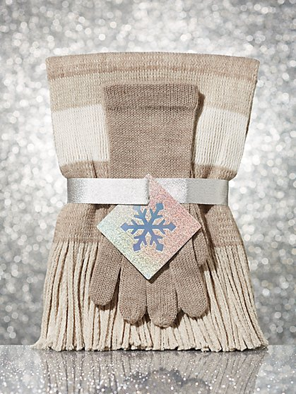 2-Piece Striped Glove & Scarf Gift Set - New York & Company