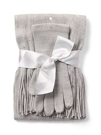 2-Piece Studded Scarf & Glove Set - New York & Company