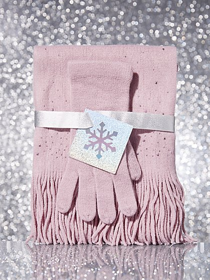 2-Piece Studded Scarf & Gloves Gift Set - New York & Company