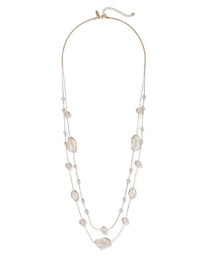 2-Row Beaded Illusion Necklace - New York & Company