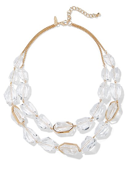 2-Row Faux-Stone Necklace - New York & Company