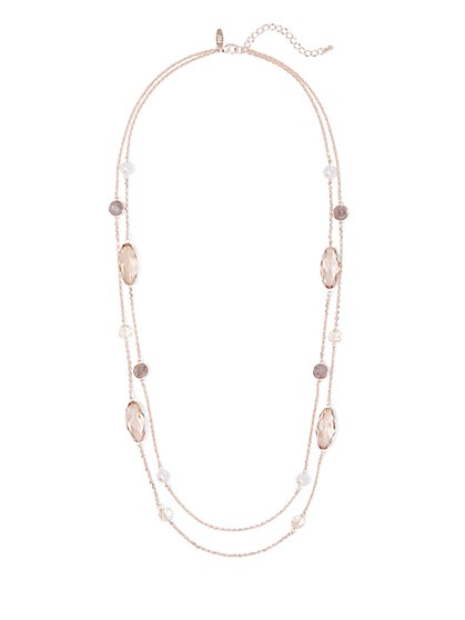 2-Row Faux-Stone Rose Goldtone Necklace - New York & Company