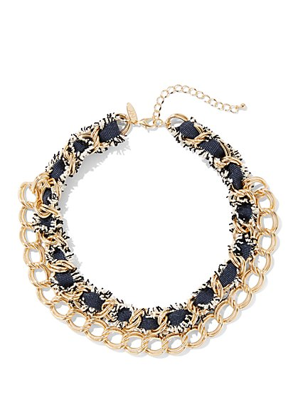 2-Row Goldtone Chain-Link Collar Necklace - New York & Company