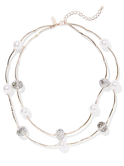 2-Row Goldtone Faux-Pearl Necklace - New York & Company