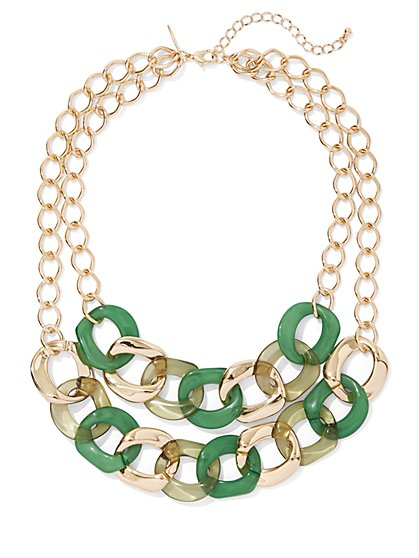 2-Row Goldtone Link Statement Necklace - New York & Company