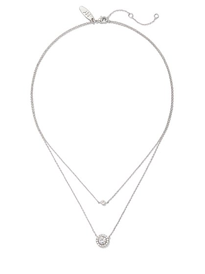2-Row Pave Silvertone Pendant Necklace - New York & Company