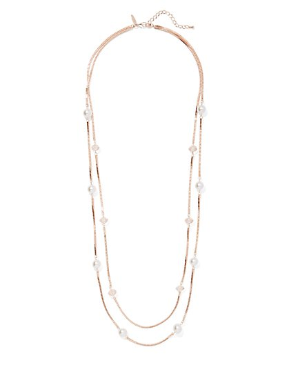 2-Row Rose Goldtone Faux-Pearl Necklace - New York & Company