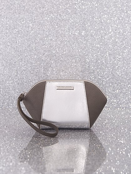 2-Tone Metallic Faux-Leather Cosmetic Bag - New York & Company
