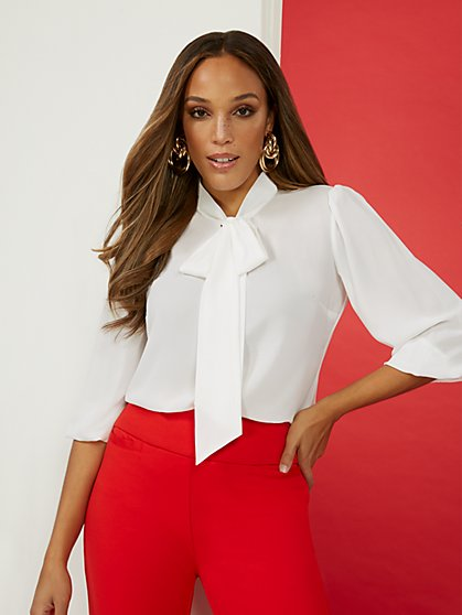 3/4-Sleeve Bow-Tie Blouse - New York & Company