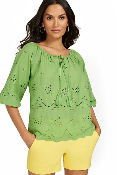3/4-Sleeve Eyelet Top - New York & Company