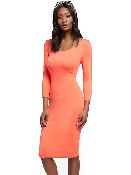 3/4-Sleeve Midi Dress - New York & Company