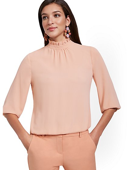 3/4-Sleeve Ruffle Mock-Neck Top - New York & Company