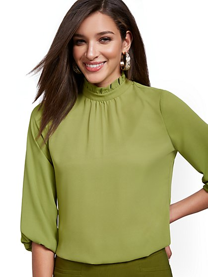 3/4-Sleeve Ruffle Mockneck Top - New York & Company