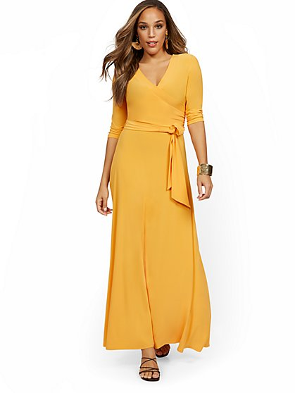3/4-Sleeve Tie-Front Maxi Dress - New York & Company