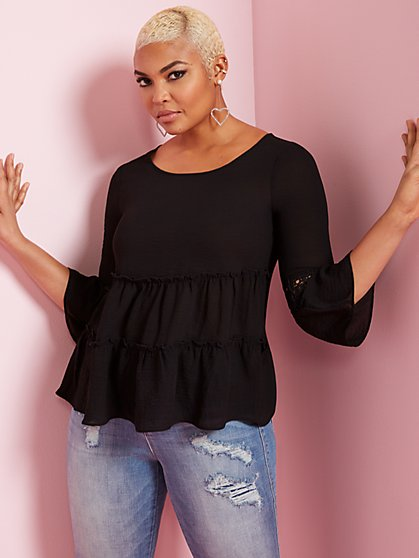 3/4-Sleeve Tiered Blouse - New York & Company