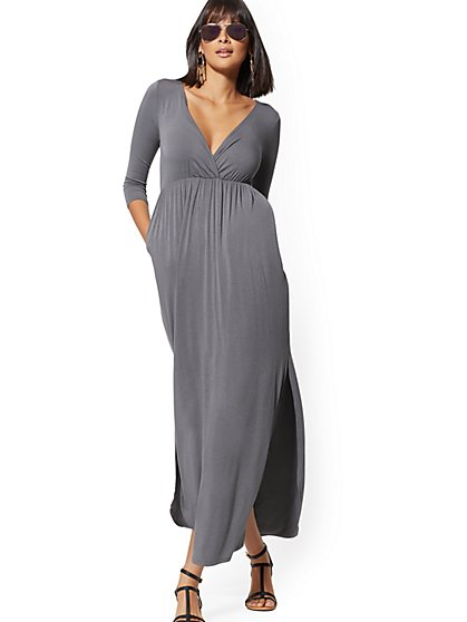 3/4-Sleeve Wrap Maxi Dress - Soho Street - New York & Company