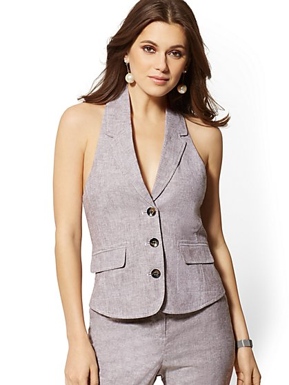 3-Button Linen Halter Vest - 7th Avenue - New York & Company