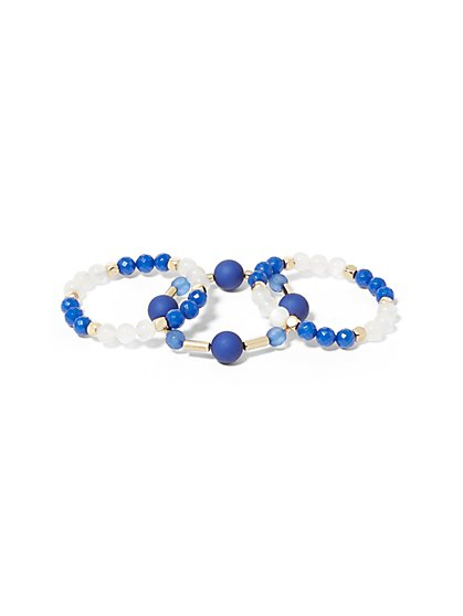 3-Piece Beaded Stretch Bracelet Set - New York & Company