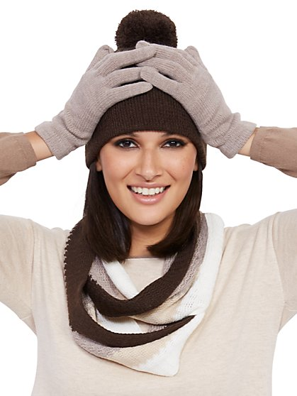 3-Piece Brown Colorblock Hat, Scarf & Glove Set - New York & Company