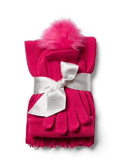 3-Piece Cable-Knit Scarf, Hat & Glove Set - New York & Company
