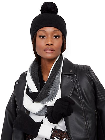 3-Piece Colorblock Hat, Scarf & Glove Set - New York & Company