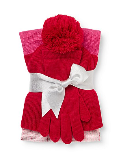 3-Piece Colorblock Scarf, Hat & Gloves Set - New York & Company