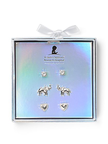 3-Piece Elephant & Heart Post Earring Set - St. Jude Collection - New York & Company