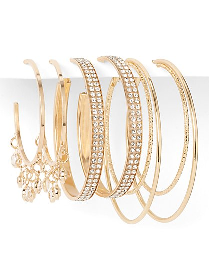 3-Piece Embellished Hoop Earring Set - New York & Company