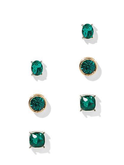 3-Piece Faux-Emerald Post Earring Set - New York & Company