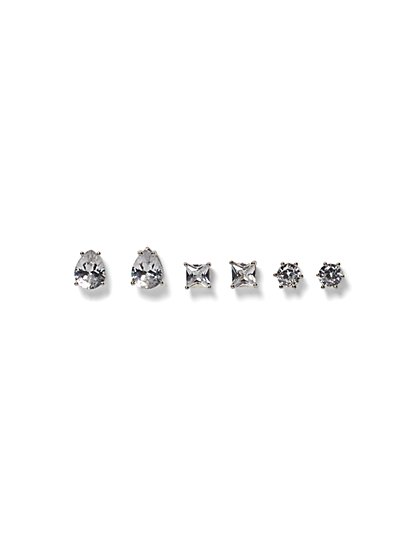 3-Piece Goldtone CZ Post Earring Set - New York & Company