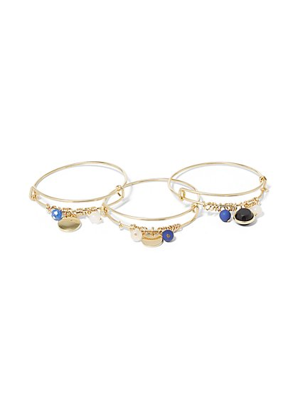 3-Piece Goldtone Charm Bangle Bracelet Set - New York & Company