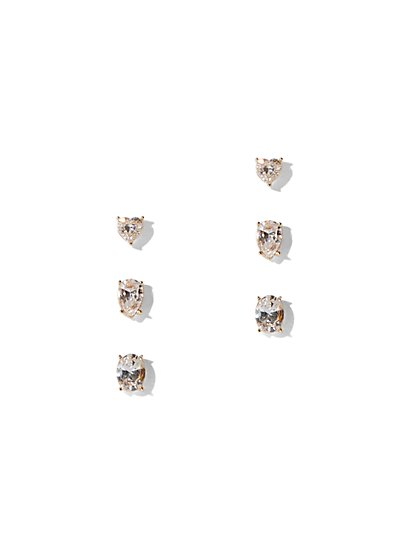 3-Piece Goldtone Cubic Zirconia Post Earring Set - New York & Company