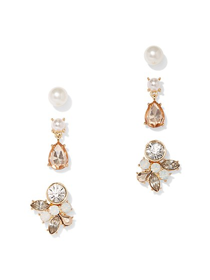3-Piece Goldtone Faux-Pearl & Faux-Stone Earring Set - New York & Company