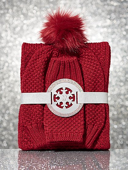 3-Piece Hat, Scarf & Glove Gift Set - New York & Company
