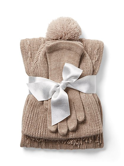 3-Piece Hat, Scarf & Glove Set - New York & Company