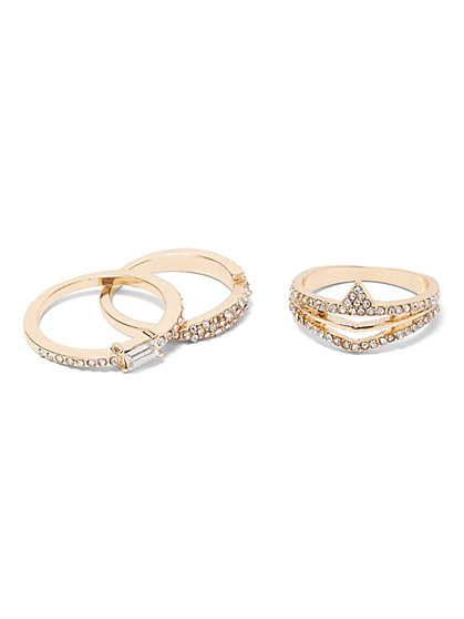 3-Piece Pave Goldtone Ring Set - New York & Company
