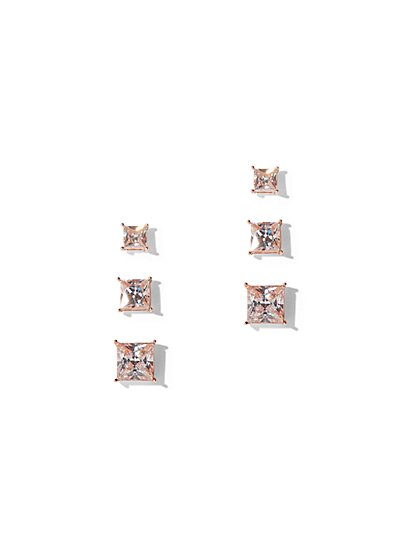 3-Piece Polished Cubic Zirconia Post Earring Set - New York & Company