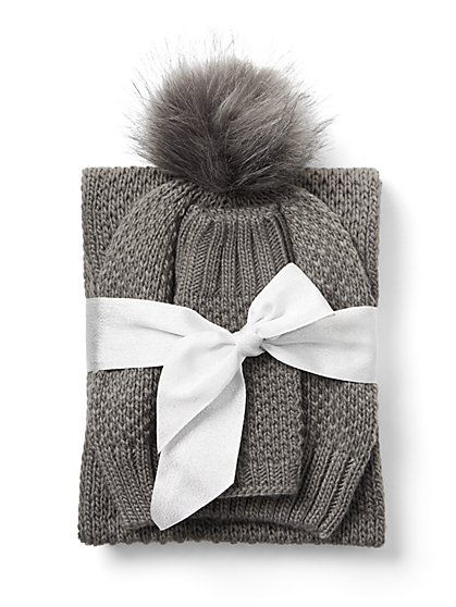 3-Piece Pom-Pom Hat, Infinity Scarf & Fingerless Glove Set - New York & Company