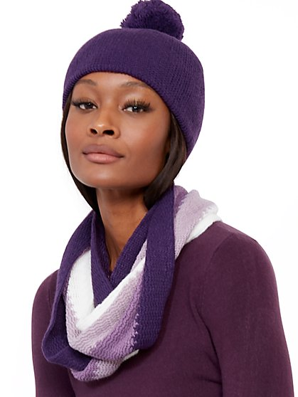3-Piece Purple Colorblock Hat, Scarf & Glove Set - New York & Company