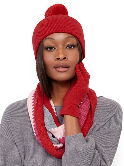3-Piece Red Colorblock Hat, Scarf & Glove Set - New York & Company