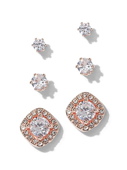 3-Piece Rose Goldtone Cubic Zirconia Post Earring Set - New York & Company