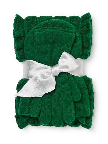 3-Piece Ruffled Scarf, Hat & Gloves Set - New York & Company