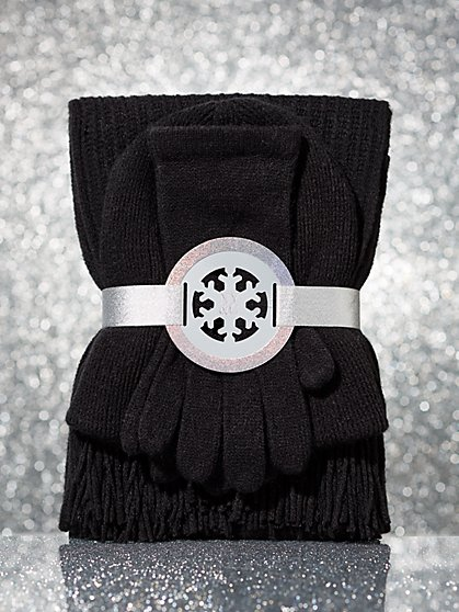 3-Piece Sequin Hat, Scarf & Gloves Gift Set - New York & Company