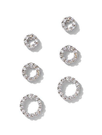 3-Piece Silvertone Cubic Zirconia Circle Post Earring Set - New York & Company