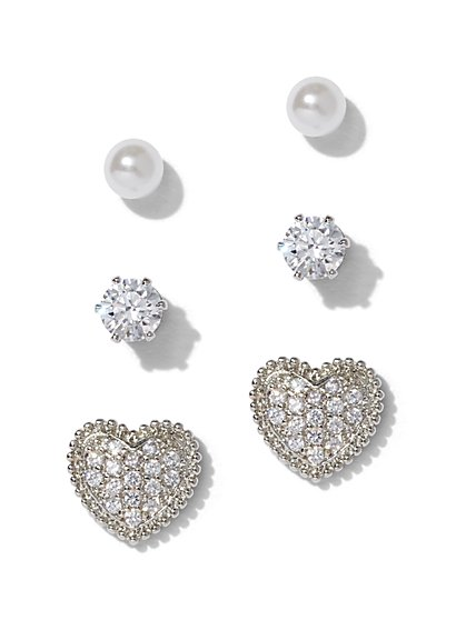 3-Piece Silvertone Cubic Zirconia Heart Post Earring Set - New York & Company