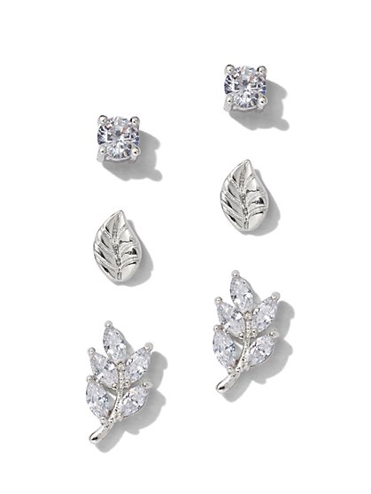 3-Piece Silvertone Cubic Zirconia Leaf Post Earring Set - New York & Company