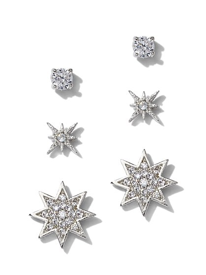 3-Piece Silvertone Cubic Zirconia Star Post Earring Set - New York & Company